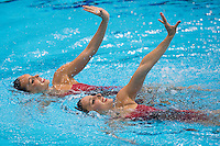 06.08.2012 Stratford, England. Spains Ballestero Carbonell and Andrea Fuentes Face (ESP) compete in the Duets Free Routine during the Synchronised Swimming on Day 10 of the London 2012 Olympic Games in the Olympic Aquatics Centre.