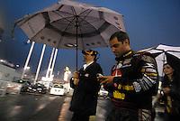 May 5, 2007; Richmond, VA, USA; Nascar Nextel Cup Series driver Juan Pablo Montoya (42) during a rain delay in the Jim Stewart 400 at Richmond International Raceway. Mandatory Credit: Mark J. Rebilas