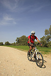 Israel, the northern Negev. Cycling by Rebuva well near Besor scenic road