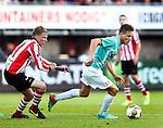 Nederland, Rotterdam, 15 mei 2014<br /> Jupiler Play-Offs<br /> Finale<br /> Sparta-FC Dordrecht (2-2)<br /> Paul Gladon (r.) van FC Dordrecht en Daniel Breedijk van Sparta strijden om de bal
