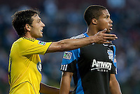 Jed Zayner (left) motions to the official next to Ryan Johnson (right). The San Jose Earthquakes tied the Columbus Crew 2-2 at Buck Shaw Stadium in Santa Clara, California on June 2nd, 2010.