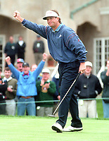Peter Jacobson fist pump after winning the 1995<br />