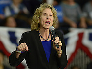 "Charlotte, NC - March 14, 2016: Charlotte, North Carolina Mayor Jennifer Roberts introduces 2016 presidential candidate Hillary Clinton during a campaign event at the Grady Cole Center in Charlotte, North Carolina, March 14, 2016, one day before 'Super Tuesday"" voting.  (Photo by Don Baxter/Media Images International)"
