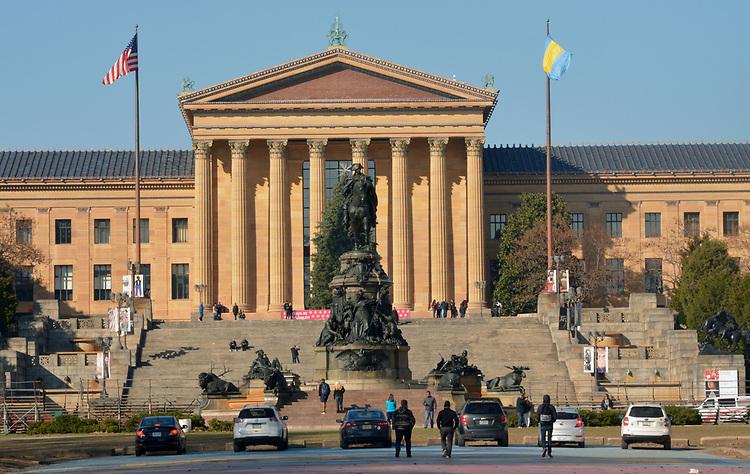 Views of the statuary at Eakin Oval plaza across the street from the Philadelphia Museum of Art. in Philadelphia, PA, on Monday, November 27, 2017. Photo by Jim Peppler. Copyright/Jim Peppler-2017.