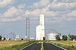 Highway and concrete grain elevator, Kiowa Co., Colorado