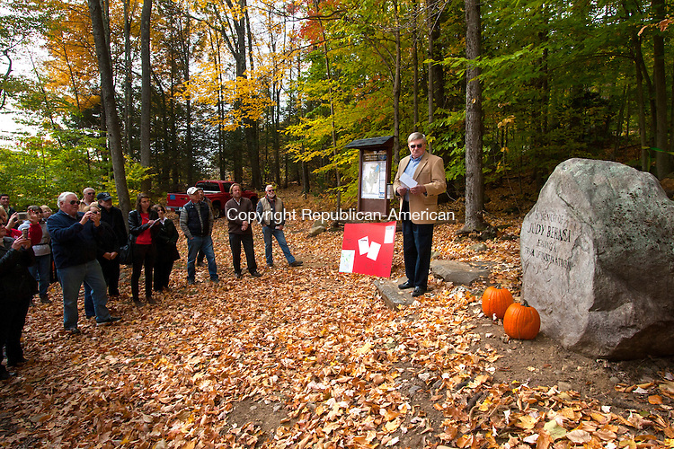 TORRINGTON, CT - 24 OCTOBER 2015 - 102415JW01.jpg -- John Bekasi talks about his wife Judith Bekasi during an unveiling of a memorial stone in her honor at the trail head to Buttrick Trail Saturday morning. Torrington Trails Network dedicated the trail to Bekaski who was one of the founding members of the network. The trail connects the Sue Grossman Still River Greenway to both Burr Pond and Sunnybrook State Parks. Jonathan Wilcox Republican-American