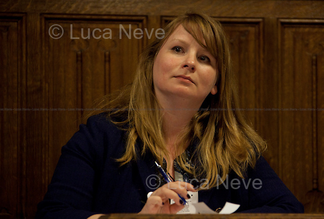 Michelle Stanistreet (NUJ general secretary).<br /> <br /> London, 19/04/2012. House of Parliament, Committee Room 12. NUJ (National Union of Journalists) organised a meeting to discuss the protection of sources and journalistic material in production order cases. From the NUJ London Photographer Branch (LPB) website:  &lt;&lt;All those involved (freelance video journalist Jason Parkinson, BBC, ITN, BskyB, Hardcash Productions) in the Dale Farm production order case have shown great concern at the increase in the use of production orders against the media over the last 18 months and the fear is journalists are being forced into becoming the eyes and ears of the state. The consequences of this can have serious implications towards the impartiality and safety of journalists in the future&gt;&gt;. The speakers included: John Battle (ITN Head of Compliance), Gavin Millar QC (Doughty Street Chambers, lawyer specialised in media, public, employment and discrimination law), Jason Parkinson (NUJ freelance video journalist), Michelle Stanistreet (NUJ general secretary). Chair of the event was Austin Mitchell (Labour MP).