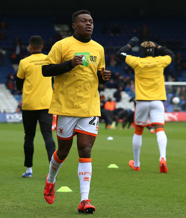 Blackpool's Marc Bola during the pre-match warm-up <br /> <br /> Photographer David Shipman/CameraSport<br /> <br /> The EFL Sky Bet League One - Luton Town v Blackpool - Saturday 6th April 2019 - Kenilworth Road - Luton<br /> <br /> World Copyright © 2019 CameraSport. All rights reserved. 43 Linden Ave. Countesthorpe. Leicester. England. LE8 5PG - Tel: +44 (0) 116 277 4147 - admin@camerasport.com - www.camerasport.com