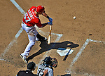 16 June 2012: Washington Nationals' first baseman Tyler Moore in action against the New York Yankees at Nationals Park in Washington, DC. The Yankees defeated the Nationals in 14 innings by a score of 5-3, taking the second game of their 3-game series. Mandatory Credit: Ed Wolfstein Photo