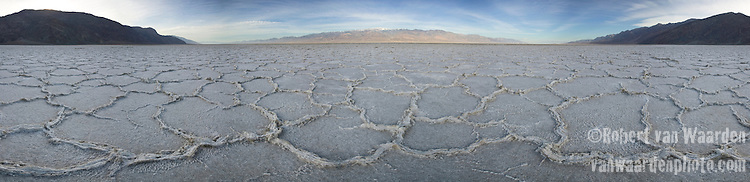 Panoramic Image of Badwater Salt Flats in Death Valley, California