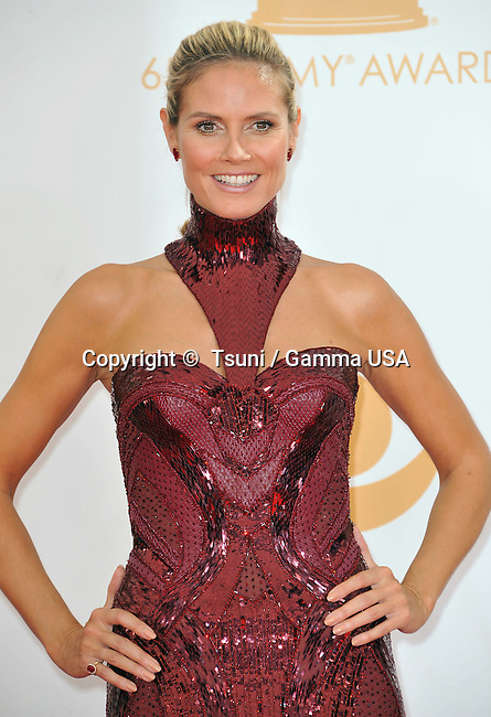 Heidi Klum  arriving at the 65th Primetime Emmy Awards at the Nokia Theatre in Los Angeles.