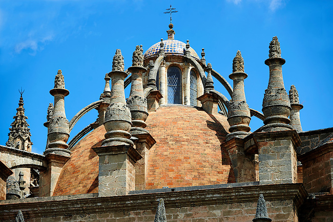 Gothic architectural detail with flying butresses of the Seville Cathedral, Spain