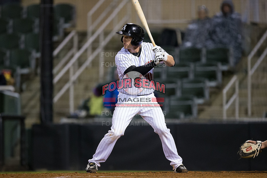 Casey Schroeder (10) of the Kannapolis Intimidators at bat against the Hickory Crawdads at Kannapolis Intimidators Stadium on April 9, 2016 in Kannapolis, North Carolina.  The Crawdads defeated the Intimidators 6-1 in 10 innings.  (Brian Westerholt/Four Seam Images)