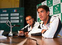 17-9-09, Netherlands,  Maastricht, Tennis, Daviscup Netherlands-France, Draw, Thiemo de Bakker en Jesse Huta Galung(r)