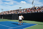 Skander Mansouri (left) of the Wake Forest Demon Deacons chest bumps teammate Borna Gojo after they won a point during their match at #1 doubles against the Ohio State Buckeyes during the 2018 NCAA Men's Tennis Championship at the Wake Forest Tennis Center on May 22, 2018 in Winston-Salem, North Carolina. (Brian Westerholt/Sports On Film)