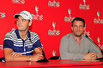 Defending Champion Martin Kaymer with Till Pohlmann of Hugo Boss to announce their sponsorship at press conference during practice day of the Abu Dhabi HSBC Golf Championship, 19th January 2011..(Picture Eoin Clarke/www.golffile.ie)