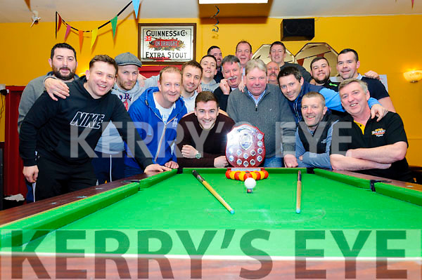 A large crowd gathered to watch the final of the final of The Sportsfield Bar's first pool tournament of 2018. Bob Sugrue retained his crown, but only just with a 6-5 game win against Séan Maloney. It was an intense battle right to the end with the best of 11 games required to claim victory.