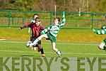 Darragh Fleming Killarney Celtic nips the ball off of David Twomey Mastergeeha during their u12 league game in Killarney on Saturday