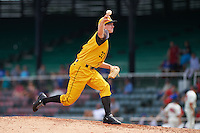 Jacksonville Suns pitcher Brian Ellington (37) delivers a pitch during the 20th Annual Rickwood Classic Game against the Birmingham Barons on May 27, 2015 at Rickwood Field in Birmingham, Alabama.  Jacksonville defeated Birmingham by the score of 8-2 at the countries oldest ballpark, Rickwood opened in 1910 and has been most notably the home of the Birmingham Barons of the Southern League and Birmingham Black Barons of the Negro League.  (Mike Janes/Four Seam Images)