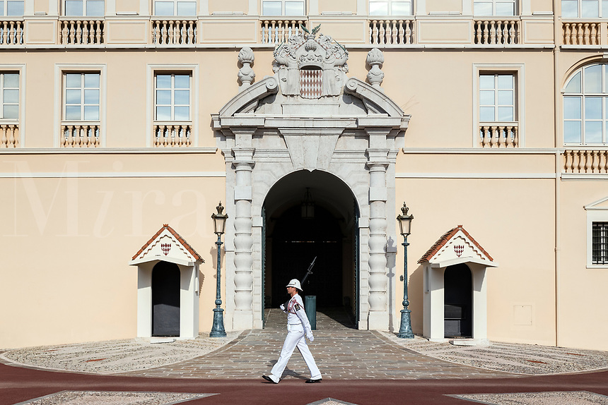Cerimonial guard at the gate to the Palace of Monaco.