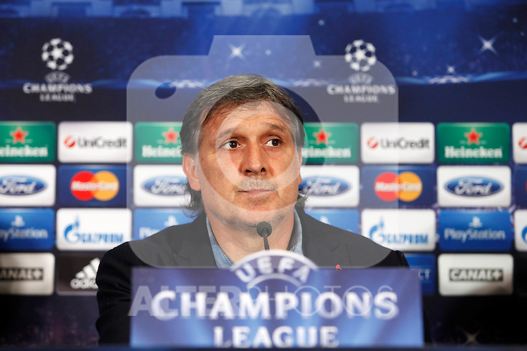 FC Barcelona´s coach Gerardo `Tata´ Martino during a press conference at the Vicente Calderon stadium in Madrid, Spain. Atletico de Madrid will face FC Barcelona in the second leg quarterfinal Champions League soccer match.  April 8, 2014. (ALTERPHOTOS/Victor Blanco)
