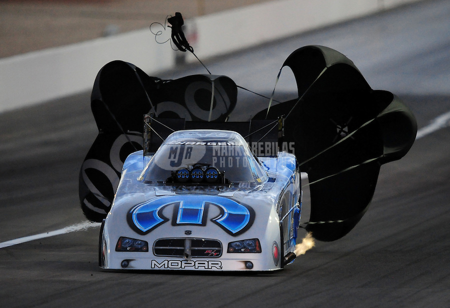 Nov. 1, 2008; Las Vegas, NV, USA: NHRA funny car driver Gary Scelzi slows down after his run during qualifying for the Las Vegas Nationals at The Strip in Las Vegas. Mandatory Credit: Mark J. Rebilas-