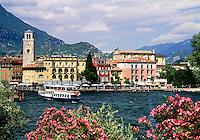 Italy, Trentino, Lake Garda, Riva: seaside promenade, boat