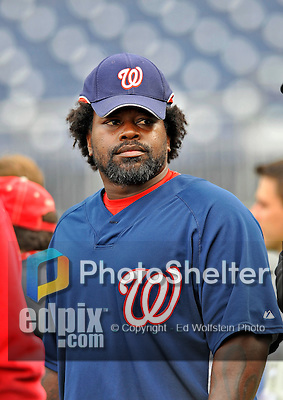 29 March 2008: Washington Nationals' first baseman Dmitri Young awaits his turn in the batting cage prior to an exhibition game against the Baltimore Orioles at Nationals Park, in Washington, DC. The matchup was the first professional game played in the new ballpark, prior to the upcoming official opening day inaugural game. The Nationals defeated the Orioles 3-0...Mandatory Photo Credit: Ed Wolfstein Photo