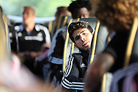 Wednesday 07 August 2013<br /> Pictured: Alejandro Pozuelo, on the bus en route to Cardiff Airport.  <br /> Re: Swansea City FC travelling to Sweden for their Europa League 3rd Qualifying Round, Second Leg game against Malmo.