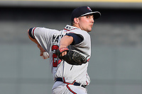 Pitcher Kevin Matthews (28) of the Rome Braves delivers a pitch in a game against the Columbia Fireflies on Sunday, July 2, 2017, at Spirit Communications Park in Columbia, South Carolina. Columbia won, 3-2. (Tom Priddy/Four Seam Images)