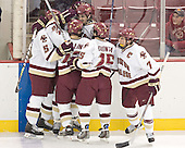 BC celebrates - Tim Filangieri, Chris Collins, Brian Boyle, Stephen Gionta, Peter Harrold - The Boston College Eagles completed a shutout sweep of the University of Vermont Catamounts on Saturday, January 21, 2006 by defeating Vermont 3-0 at Conte Forum in Chestnut Hill, MA.