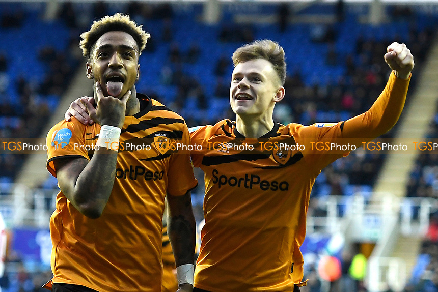 Martin Samuelsen of Hull City left celebrates his goal with Keane Lewis-Potter of Hull City during Reading vs Hull City, Sky Bet EFL Championship Football at the Madejski Stadium on 8th February 2020