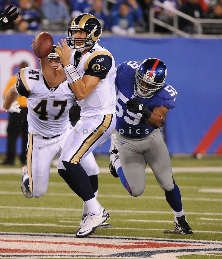 MICHAEL BOLEY, of the New York Giants, in action during the Giants game against the St. Louis Rams on September 19, 2011 at MetLife Stadium in East Rutherford, NJ. The Giants beat the Rams 28-16.