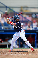 Reading Fightin Phils designated hitter Jiandido Tromp (7) at bat during the first game of a doubleheader against the Portland Sea Dogs on May 15, 2018 at FirstEnergy Stadium in Reading, Pennsylvania.  Portland defeated Reading 8-4.  (Mike Janes/Four Seam Images)