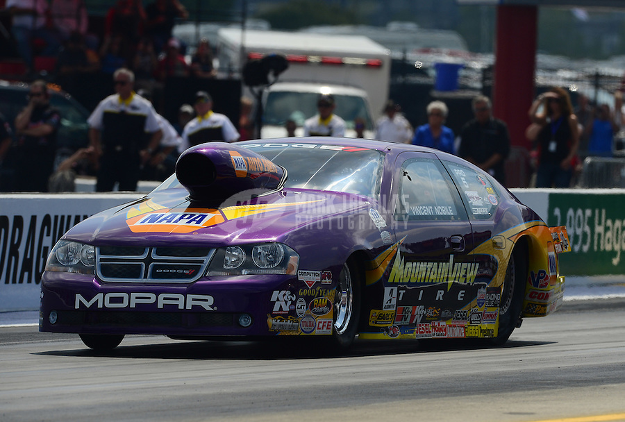 Apr. 15, 2012; Concord, NC, USA: NHRA pro stock driver Vincent Nobile during the Four Wide Nationals at zMax Dragway. Mandatory Credit: Mark J. Rebilas-
