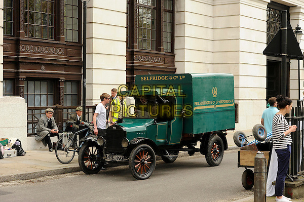 Filming of 'Mr Selfridge' in London, England..6th May 2013.film on the set of acing actors cast crew gv general view green.CAP/IA.©Ian Allis/Capital Pictures.