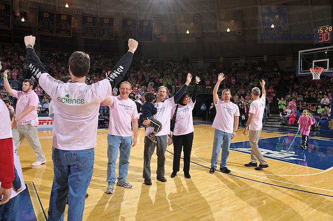 College of Science faculty, grad students, staff and families are honored for their efforts in cancer research during a timeout of the Women's Basketball game against DePaul, Feb. 8, 2009 at the Joyce Center...Photo by Matt Cashore/University of Notre Dame