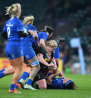 28th December 2019; Twickenham, London, England; Big Game 12 Womens Rugby, Harlequins versus Leinster; Chloe Edwards of Harlequins is tacked by Clodagh Dunne of Leinster - Editorial Use