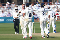 Simon Harmer of Essex celebrates taking the wicket of Boyd Rankin during Essex CCC vs Warwickshire CCC, Specsavers County Championship Division 1 Cricket at The Cloudfm County Ground on 21st June 2017
