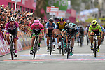Maglia Ciclamino Elia Viviani (ITA) Quick-Step Floors wins Stage 3, with Sam Bennett (IRL) Bora-Hansgrohe in <br /> 3rd place, of the 101st edition of the Giro d'Italia 2018 running 229km flat stage from Be'er Sheva to Eilat is the last in Israel. 6th May 2018.<br /> Picture: LaPresse/Fabio Ferrari | Cyclefile<br /> <br /> <br /> All photos usage must carry mandatory copyright credit (&copy; Cyclefile | LaPresse/Fabio Ferrari)