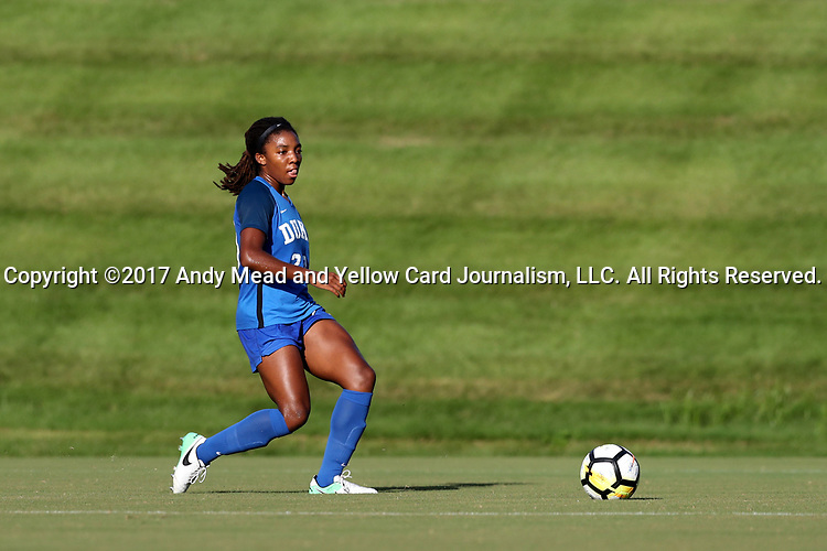 CARY, NC - AUGUST 18: Duke's Mia Gyau. The University of North Carolina Tar Heels hosted the Duke University Blue Devils on August 18, 2017, at Koka Booth Stadium in Cary, NC in a Division I college soccer game.