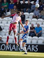 Kurtis Guthrie of Stevenage out jumps Luke Prosser of Colchester United during Colchester United vs Stevenage, Sky Bet EFL League 2 Football at the JobServe Community Stadium on 5th October 2019