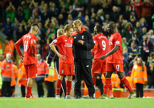 25.10.2015. Anfield, Liverpool, England. Barclays Premier League. Liverpool versus Southampton. Liverpool manager Jurgen Klopp comes onto the pitch at the end of the game and speaks with Liverpool midfielder Lucas Leiva.