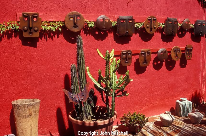 Ceramics display in Mangos folk art shop in the Spanish colonial town of Todos Santos , Baja California Sur, Mexico