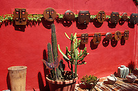Ceramics display in Mangos folk art shop in the Spanish colonial town of Todos Santos , Baja California Sur, Mexico
