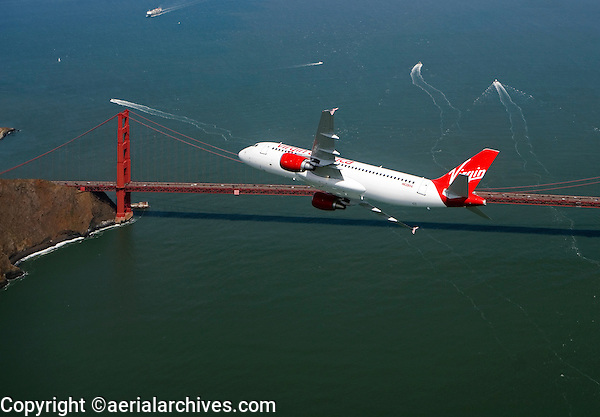 aerial photograph of N628VA, Virgin America Airlines Airbus A320-214, at the Golden Gate Bridge, San Francisco, California
