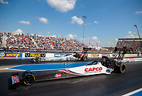 Sep 29, 2019; Madison, IL, USA; NHRA top fuel driver Steve Torrence (near) alongside Mike Salinas during the Midwest Nationals at World Wide Technology Raceway. Mandatory Credit: Mark J. Rebilas-USA TODAY Sports
