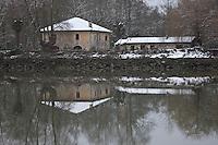 Europe/France/Aquitaine/64/Pyrénées-Atlantiques/Pays Basque/Guiche: Les bords de l'Adour sous la neige