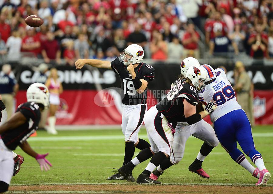 Oct. 14, 2012; Glendale, AZ, USA; Arizona Cardinals quarterback (19) John Skelton prior to the game against the Buffalo Bills at University of Phoenix Stadium. Mandatory Credit: Mark J. Rebilas-