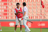 Rory McIlroy (NIR) with caddy Harry Diamond on the 18th green during the 3rd round of the WGC HSBC Champions, Sheshan Golf Club, Shanghai, China. 02/11/2019.<br /> Picture Fran Caffrey / Golffile.ie<br /> <br /> All photo usage must carry mandatory copyright credit (© Golffile | Fran Caffrey)